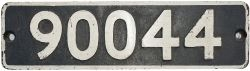Smokebox numberplate 90044 ex WD 2-8-0 built by North British Locomotive in 1944. Allocations