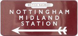 BR(M) FF enamel station direction sign NOTTINGHAM MIDLAND STATION with left facing arrow and British