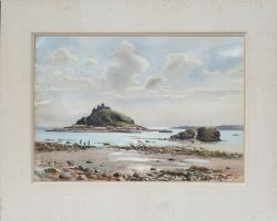 Original watercolour painting ST MICHAELS MOUNT by Eric Scott. Produced for the BR(W) Publicity