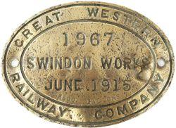 GWR brass locomotive tenderplate GREAT WESTERN RAILWAY COMPANY SWINDON WORKS 1967 JUNE 1915 3500
