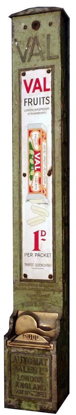 VAL FRUITS cast aluminium platform vending machine with AUTOMAT SALES LTD LONDON ENGLAND
