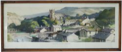Carriage Print INGLETON VILLAGE, YORKSHIRE by Frank Sherwin from the LMR (B) Series, issued 1952. In