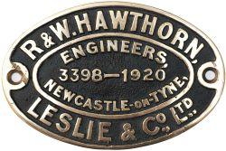Worksplate R&W HAWTHORN, LESLIE & CO LTD ENGINEERS NEWCASTLE-ON-TYNE 3398 1920 ex TVR Cameron A
