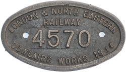 Worksplate LONDON & NORTH EASTERN RAILWAY COWLAIRS WORKS 1918 4570 ex NBR Reid J37 0-6-0