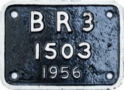 BR cast iron locomotive tenderplate BR3 1503 1956 ex Riddles BR Standard Class 2 2-6-0 number