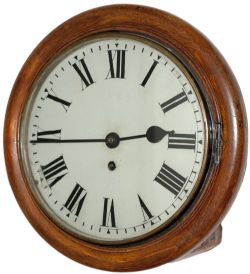North Eastern Railway 10in oak cased railway clock with a wire driven English fusee movement