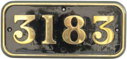 GWR brass cabside numberplate 3183 ex Churchward 2-6-2 T built at Swindon in 1907. A long time 86E