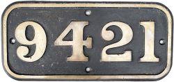 BR-W brass cabside numberplate 9421 ex Hawksworth 0-6-0 PT built by Robert Stephenson & Hawthorn Ltd
