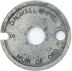 Aluminium single line tablet DINGWALL - MUIR OF ORD 8 from the former Highland Railway section.