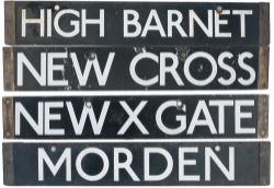 A pair of London Underground tube stock destination enamels MOORGATE / HIGH BARNET and NEW CROSS /