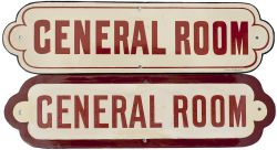 North Eastern Railway enamel doorplates GENERAL ROOM, a pair in the different colours. Both in
