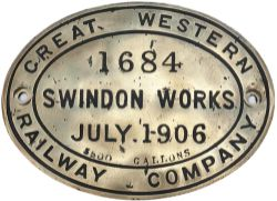 GWR tenderplate GREAT WESTERN RAILWAY COMPANY SWINDON WORKS JULY 1906 1684 3500 GALLONS. Oval