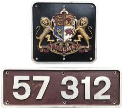 BR diesel cabside numberplate 57312 together with a Pullman Crest off the same loco. Ex Class 47