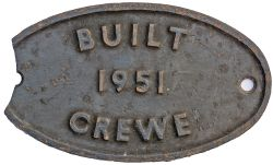 Worksplate BUILT 1951 CREWE ex Riddles Standard Class 7 Britannia 4-6-2 in the number range 70000-