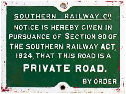 Southern Railway cast iron PRIVATE ROAD sign. In nicely face restored condition measuring 25in x