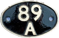 Shedplate 89A Oswestry 1950-1961 with Sub-sheds Llanfylin to 1952, Llanidloes to 1962, and then