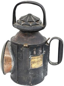 Great Northern Railway large 3 Aspect double pie crust handlamp stamped in the side and trigger