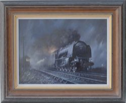 Original oil painting on canvas study for Midnight Train by Don Breckon depicting Stanier Coronation