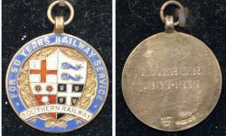 Southern Railway 9ct gold 50 years LONG SERVICE MEDAL. Enamelled face with Southern Railway Coat