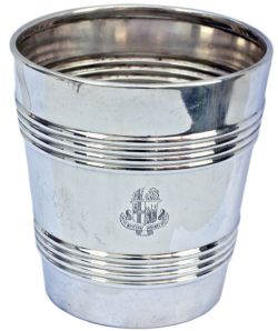 GWR silverplate wine cooler. Full twin shield Great Western Railway Hotels coat of arms to front and