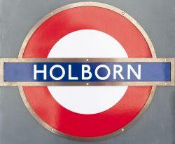 London Underground enamel target/bullseye sign HOLBORN with original bronze frame. In excellent