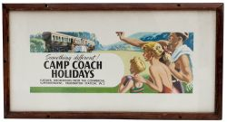 Carriage print BR(W) CAMP COACH HOLIDAYS with images of old coach and holidaying family. Measures