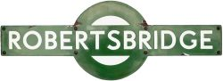 Southern Railway enamel target station sign ROBERTSBRIDGE from the former South Eastern and