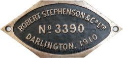 Worksplate ROBERT STEPHENSON & CO LTD DARLINGTON No 3390 1910 ex Rhymney Railway 0-6-2 T numbered 13