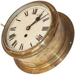 Great Western Railway Ships clock with an 8 inch painted dial, cast brass bezel, brass case and