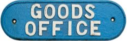 LNER cast iron doorplate GOODS OFFICE. Face restored, rear original, measures 14.75in x 4.75in.
