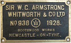Worksplate SIR W. G. ARMSTRONG WHITWORTH & CO LTD SCOT'S WOOD WORKS NEWCASTLE-ON-TYNE No 938 1928 ex