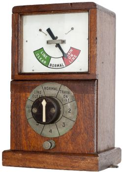 Great Western Railway mahogany cased 1947 Single Line Block Instrument. In excellent ex railway