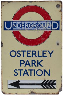 London Underground enamel station direction sign OSTERLEY PARK STATION with left facing arrow and