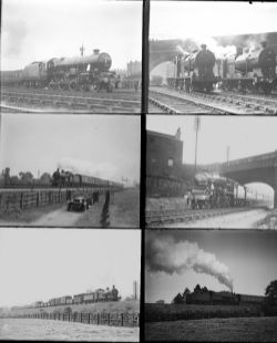 Approximately 41 large format glass negatives. Mostly LMS, a LNER and a M&GN taken in 1935. Negative