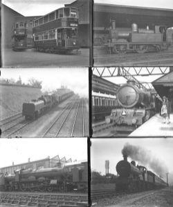 Approximately 59 large format glass negatives. Including: GWR, LMS, LCC Trams x 2, LCC Locos taken