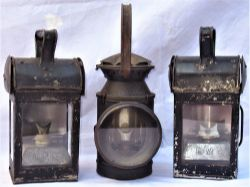 A lot to include 3 railway hand lamps. 2 x LMS general purpose hand lamps together with 1 x SR 4