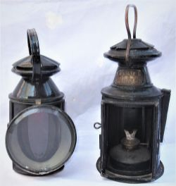 2 x Pre grouping railway hand lamps. SE&CR complete with brass SE&CR plate and SR(A) vessel but