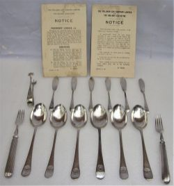 14 x pieces of PULLMAN cutlery inclusive of spoons, fish knives, forks and an unmarked sugar tongs
