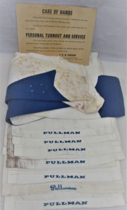 8 x PULLMAN seat head rest covers together with a Pullman car attendants jacket and an unframed card