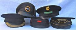 A Lot with 5 x railway uniform caps to include Foreman's cap with green fish tail FOREMANS badge and