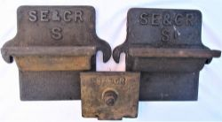 2 x SE&CR Axle cover plates together with another cover embossed SE&CR. (3 items).
