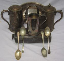 A collection of railway silverware to include 2 x hot water pots stamped BTC Hotels. An LNER