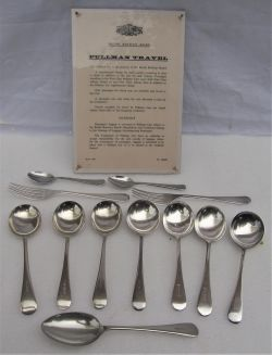 12 x pieces of PULLMAN cutlery inclusive of spoons and forks together with an unframed card notice