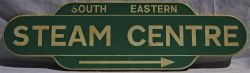 A blank totem sign painted for use as a direction sign lettered SOUTH EASTERN STEAM CENTRE with