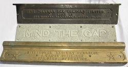 3 x Carriage step plates. One bronze example with letters THE PULLMAN CAR COMPANY LIMITED together