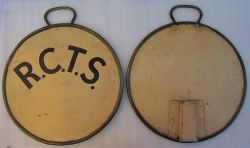 2 x SR Loco head discs fitted with brass beading and handles. One side lettered R.C.T.S the other