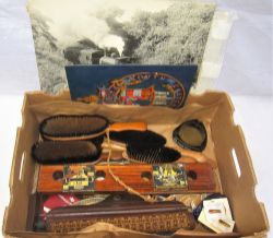 A sundry Lot containing various items of interest including a carriage blind. A wooden rail fish