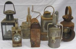 A Lot containing 7 x miscellaneous railway lamps. Some incomplete.