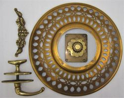 A collection of brass carriage fittings. A door knob stamped SE&CR. A Complete brass handle