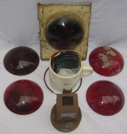 A lot containing lamp spares to include 5 x tail lamp red lenses. BR(E) head lamp interior